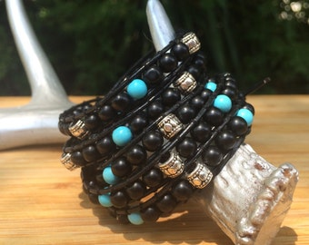 Jet Glass Beads Silver Tube Leather Bracelet Turquoise