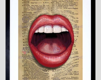 Upcycle Dictionary Mouth Surreal Lips Framed Art Print Poster F12X10564