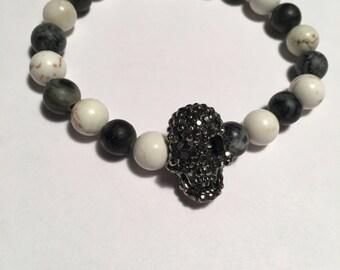 Marble Beaded Bracelet w/ Gunmetal Crystal Skull