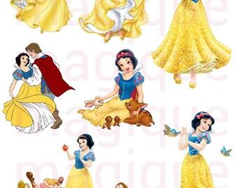 snow white stickers, disney princess stickers, disney princess clipart, disney princess print, stickers, disney stickers, digital prints.