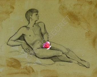 Curiosa erotic original drawing gay art phallus
