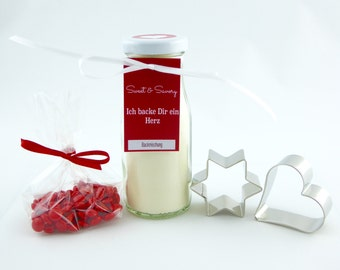 Gift set heart cake mix in a glass jar - ideal as a gift for lovers, Valentine