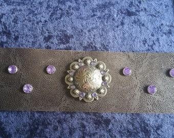Purple rhinestone leather braclet