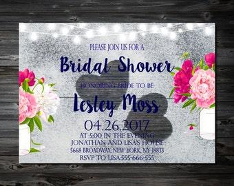 Bridal Shower, Wedding Shower,Bridal Shower Digital,Vintage Bridal Shower Invitation,Wedding Printable, Bridal Shower Invites
