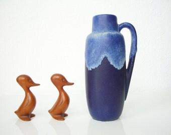 SCHEURICH • blue handle vase • 275-20 • running glaze
