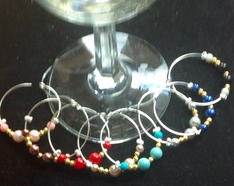 wine glass charms -set of 6