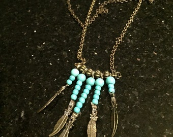 Great necklace style Indian metal aged and turquoise