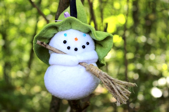 Pointy Hat Gang Witch Ornament, Witch Snowgirl Ornament, Fleece Witch Ornament, Green Hat Witch Ornament, Handmade Witch  Ornament,