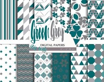 Green grey Digital Paper,Scrapbook Paper pack, Geometric patterns, Green background, Printable Background, Digital Paper, commercial use
