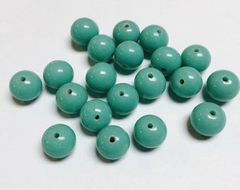 Vintage Japanese Glass Rounds in Turquoise - 20 Pieces - #659