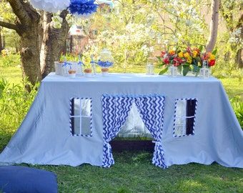 Play tent/ Blue tablecloth/ Playhouse for kids/ Birthday tablecloth/ Baptism decor/ Christening tablecloth/ Fabric playhouse