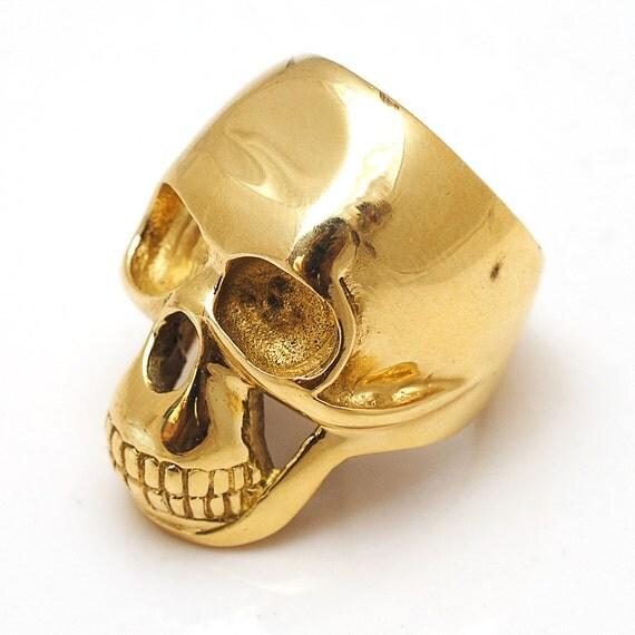 Biker Skull Ring, Skull ring, Biker ring, Brass Biker Skull Ring, skull jewelry, biker jewelry, Gold Skull Ring, big skull ring
