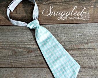 Aqua Houndstooth Toddler Necktie