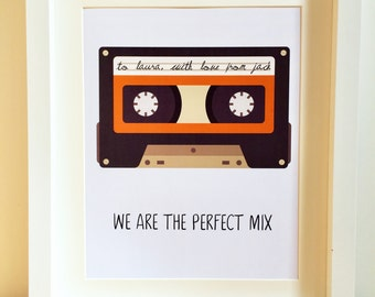 Cassette Tape Print, We Are The Perfect Mix, Anniversary Gift, Wall Art, Personalised Mix Tape, Gift for couple, 80's gift, 40th Birthday