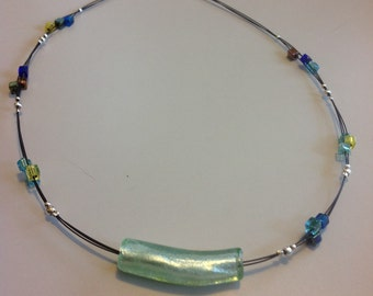 Braided glass bead necklace