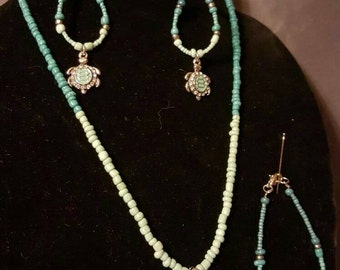 Sea Turtle Necklace, Bracelet, Earring Set