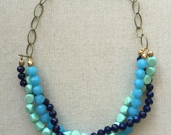 Charming Braided Blue Statement Necklace
