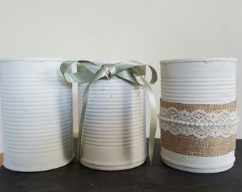 Rustic tin cans