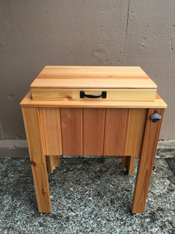 Cedar patio cooler wood cooler stand drink cooler barbecue