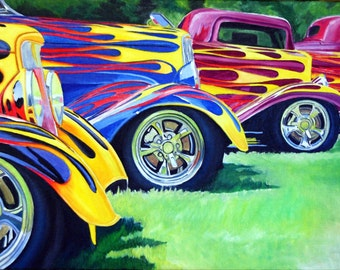 """Original Oil Painting titled """"All O Way Flammed"""" of vintage cars by Stefanie Aziere-Sattler"""