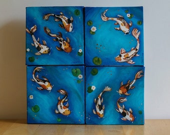 The Pond {Koi Pond // Fish // Multiple Canvases // Set of Four // Blue // Tranquil // Swim // Koi  // Pond // Water}