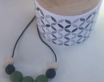 Silicone/Maple Wood Necklace - Maple, Black &