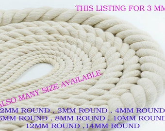 3mm x 1Meter 100% Natural Pure Cotton Rope 3Strand Braided Twisted Cord Twine Sash