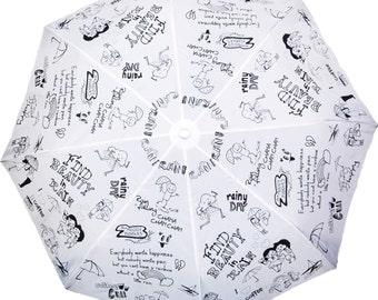 Girls Rain Doodle Designed Rain Umbrella