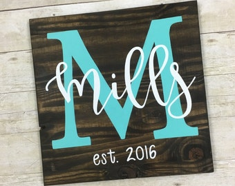 Wooden Sign- Personalized monogram sign, family name sign