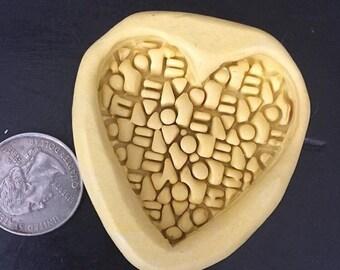 Lg. Love print heart mold