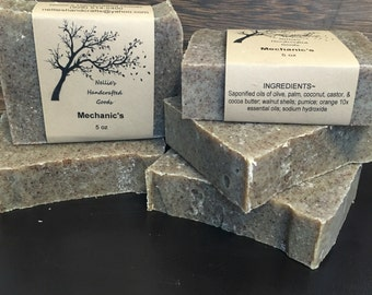 Mechanic's Exfoliating Homemade Soap Bar - Gardeners Soap - Natural Skin Care - Cold Process Soap - Rustic - Citrus Soap -Sensitive Skin