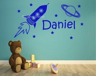 Space Rocket & Stars Personalised Wall Art Sticker