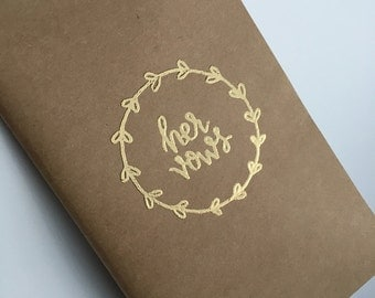 Wedding Vow Book | Wedding Vows | Bride and Groom | Vow Journal | Love Journal | Kraft Journal | Hand Lettered | His and Hers | Wedding Gift