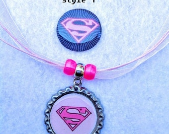 10 Pcs SuperGirl  Necklaces Party Favors