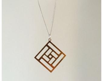 Small maze necklace - laser cut brass maze necklace - geometric brass maze - cute and quirky maze necklace - Log cabin quilt design maze