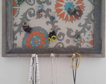 Orange/Blue/Gray Paisley Jewelry Frame- Large