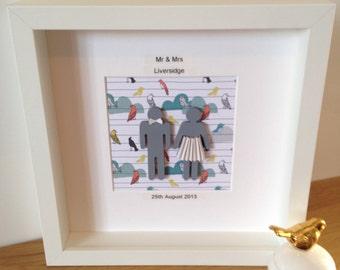 Customised Mr and Mrs, wedding date, or wedding anniversary, love birds, bride and groom, happy couple, personalised keepsake framed gift