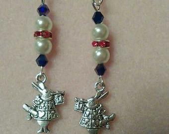 Alice in Wonderland theme drop earrings