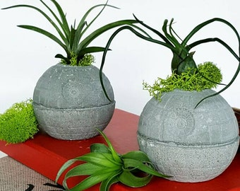 Set of two Death Star Concrete Planter-Air PLant Star Wars Office Decor