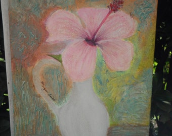 Hibiscus Mixed Media Acrylic Painting