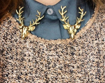 Christmas Popular Cute Gold Plated Deer Antlers Head Pin Brooch Style Jewelry
