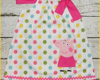 Peppa Pig  Pillowcase style dress  Pretty  polka dot and Hot pink