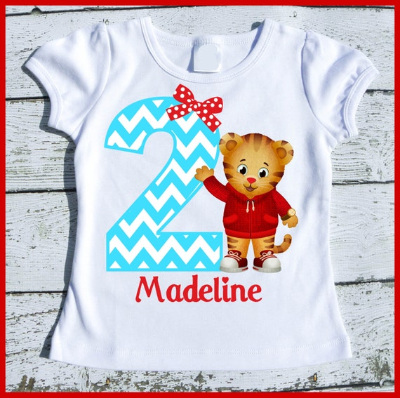 Custom Personalized Girl Daniel the Tiger Birthday tee shirt with aqua chevron and red
