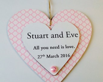 15cm personalised wooden hanging heart plaques
