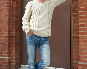 sweater | 100%wool sweater | handmade pullover | organic sweater | men sweater | white sweater