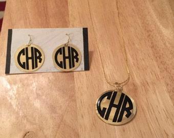 Gold Circle Monogram Earrings, Round Gold Monogram Earrings, Monogram Jewelry, Circle Earrings, Monogram Earrings, Silver Earrings,