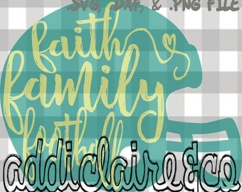 Faith Family Football Helmet File (svg, dxf, png)