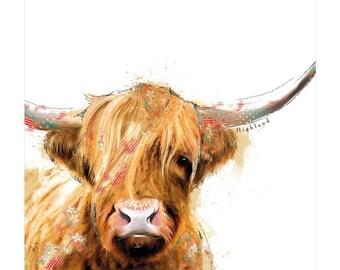 Highland Bull Handmade Greeting Card