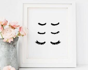 Wall art Prints, Eyelashes Print, Art Print, Sassy Wall Art, Makeup Print, Eyelashes, Wall art print, Makeup Art, Mascara Art