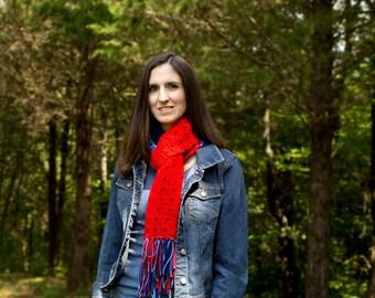 Long Crochet Scarf with Fringe //Adoption Fundraiser